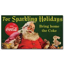 Coke Santa w/ Rabbit For Sparkeling Holidays -13 x 24 Inches