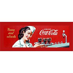 Coke Waitress Stretched Canvas Print  12 x 36 Inch