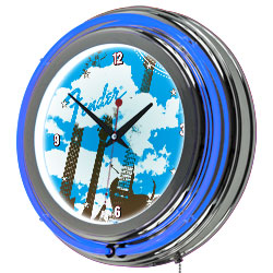 FenderR Guitar in the Clouds Double Ring Neon Clock