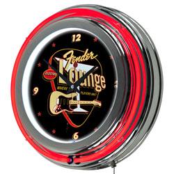 FenderR Electro Lounge Neon Clock - 14 inch Diameter
