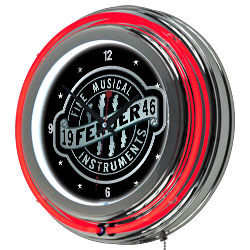 Fender Fine Musical Equipment Double Ring Neon Clock