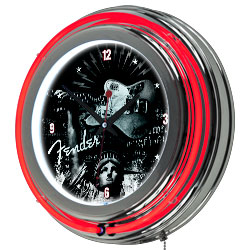 Fender Lady Liberty Double Ring Neon Clock