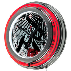 Fender Ripped Grunge Double Ring Neon Clock