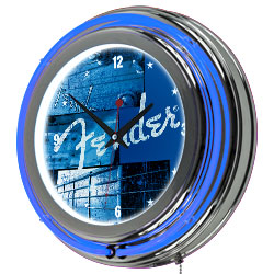 Fender Stacked Double Ring Neon Clock