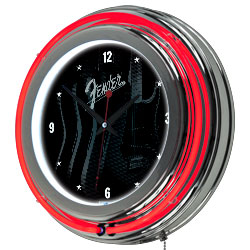 Fender Stratocasters Galore Double Ring Neon Clock