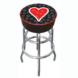Four Aces Heart Logo Padded Bar Stool