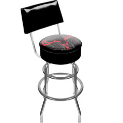 Hunt Skull Padded Swivel Bar Stool with Back