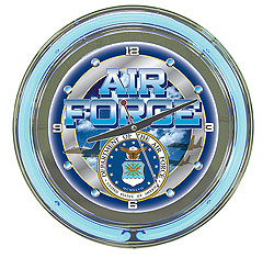 United States Air Force Neon Clock - 14 inch Diameter