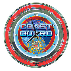 United States Coast Guard Neon Clock - 14 inch Diameter