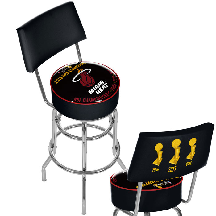 Miami Heat 2013 NBA Champions Swivel Bar Stool with Back