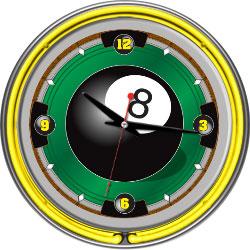 8-Ball 14-inch Neon Wall Clock