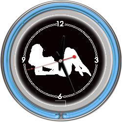 Shadow Babes - A Series - Clock w/ Two Neon Rings - Blue