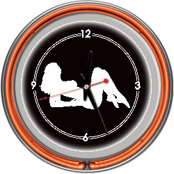 Shadow Babes - A Series - Clock w/ Two Neon Rings - Orange