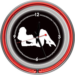 Shadow Babes - A Series - Clock w/ Two Neon Rings - Red