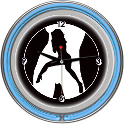Shadow Babes - C Series - Clock w/ Two Neon Rings - Blue