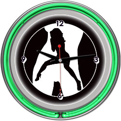 Shadow Babes - C Series - Clock w/ Two Neon Rings - Green