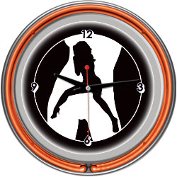Shadow Babes - C Series - Clock w/ Two Neon Rings - Orange