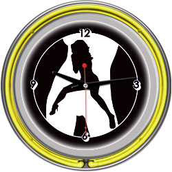 Shadow Babes - C Series - Clock w/ Two Neon Rings - Yellow