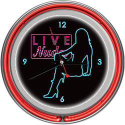 Shadow Babes - D Series - Clock w/ Two Neon Rings - Red