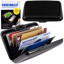 Aluminum Credit Card Wallet - RFID Blocking Case - Black