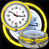 14 Inch Double Ring Neon Clock Yellow Outer White Inner
